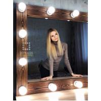 Гримерное зеркало с подсветкой из массива дерева 80х115 Орех